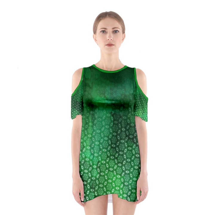 Ombre Green Abstract Forest Women s Cutout Shoulder One Piece