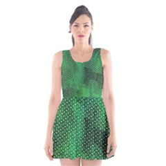 Green Abstract Forest Scoop Neck Skater Dress