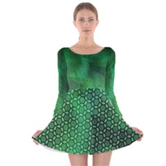 Ombre Green Abstract Forest Long Sleeve Velvet Skater Dress