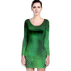 Ombre Green Abstract Forest Long Sleeve Velvet Bodycon Dress
