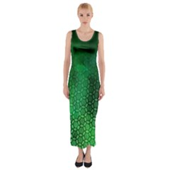 Ombre Green Abstract Forest Fitted Maxi Dress