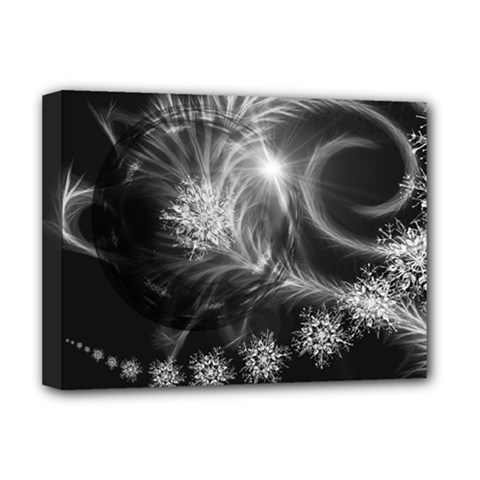 Silver Feather And Ball Decoration Deluxe Canvas 16  X 12   by picsaspassion