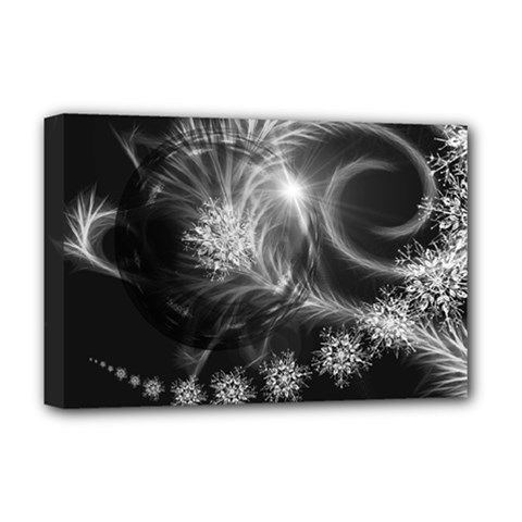 Silver Feather And Ball Decoration Deluxe Canvas 18  X 12   by picsaspassion