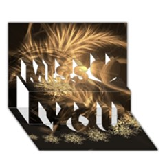 Golden Feather And Ball Decoration Miss You 3d Greeting Card (7x5)