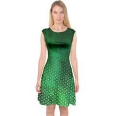 Ombre Green Abstract Forest Capsleeve Midi Dress by DanaeStudio