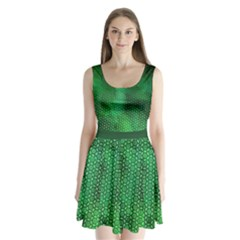 Ombre Green Abstract Forest Split Back Mini Dress