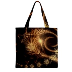 Golden Feather And Ball Decoration Zipper Grocery Tote Bag by picsaspassion