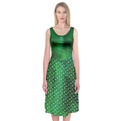 Ombre Green Abstract Forest Midi Sleeveless Dress by DanaeStudio