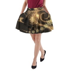 Golden Feather And Ball Decoration A Line Pocket Skirt by picsaspassion