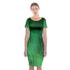 Ombre Green Abstract Forest Classic Short Sleeve Midi Dress