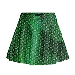 Green Abstract Forest Mini Flare Skirt