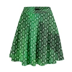 Green Abstract Forest High Waist Skirt