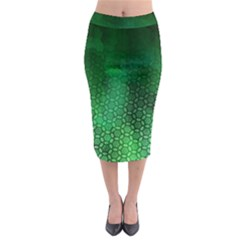 Ombre Green Abstract Forest Midi Pencil Skirt by DanaeStudio