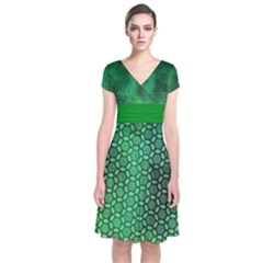 Ombre Green Abstract Forest Short Sleeve Front Wrap Dress