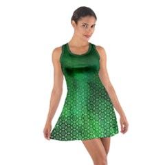 Ombre Green Abstract Forest Cotton Racerback Dress