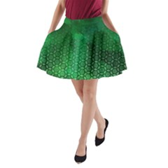 Ombre Green Abstract Forest A Line Pocket Skirt