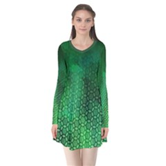 Ombre Green Abstract Forest Long Sleeve V Neck Flare Dress