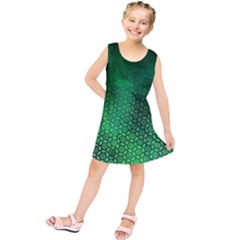 Ombre Green Abstract Forest Kids  Tunic Dress