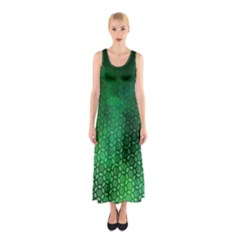 Ombre Green Abstract Forest Sleeveless Maxi Dress by DanaeStudio