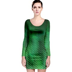 Ombre Green Abstract Forest Long Sleeve Bodycon Dress