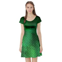 Ombre Green Abstract Forest Short Sleeve Skater Dress