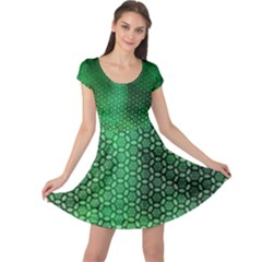 Ombre Green Abstract Forest Cap Sleeve Dress by DanaeStudio