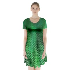 Ombre Green Abstract Forest Short Sleeve V Neck Flare Dress by DanaeStudio