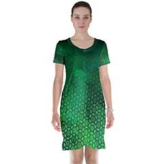 Ombre Green Abstract Forest Short Sleeve Nightdress