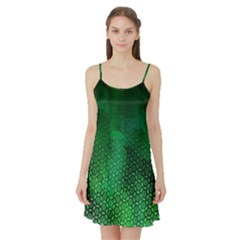 Ombre Green Abstract Forest Satin Night Slip