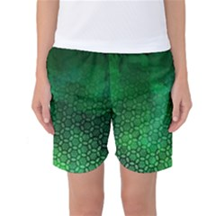 Ombre Green Abstract Forest Women s Basketball Shorts