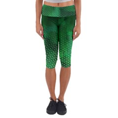 Ombre Green Abstract Forest Capri Yoga Leggings