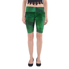 Ombre Green Abstract Forest Yoga Cropped Leggings