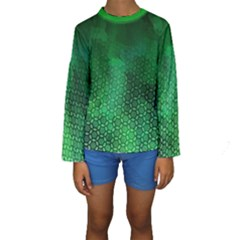 Ombre Green Abstract Forest Kids  Long Sleeve Swimwear by DanaeStudio