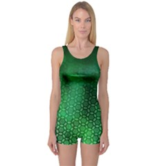 Ombre Green Abstract Forest One Piece Boyleg Swimsuit by DanaeStudio
