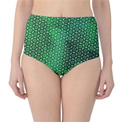 Green Abstract Forest High Waist Bikini Bottoms