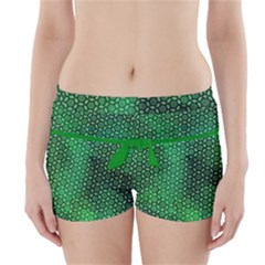 Green Abstract Forest Boyleg Bikini Wrap Bottoms