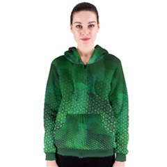Ombre Green Abstract Forest Women s Zipper Hoodie by DanaeStudio