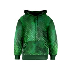 Ombre Green Abstract Forest Kids  Zipper Hoodie by DanaeStudio