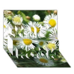 White Summer Flowers, Watercolor Painting You Rock 3d Greeting Card (7x5)