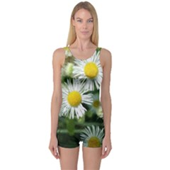 White Summer Flowers, Watercolor Painting One Piece Boyleg Swimsuit