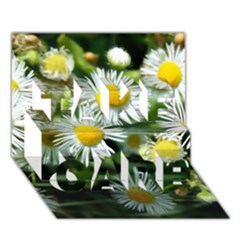 White Summer Flowers Oil Painting Art Take Care 3d Greeting Card (7x5) by picsaspassion