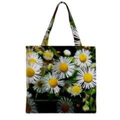 White Summer Flowers Oil Painting Art Zipper Grocery Tote Bag by picsaspassion