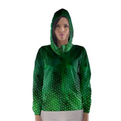 Ombre Green Abstract Forest Hooded Wind Breaker (women)