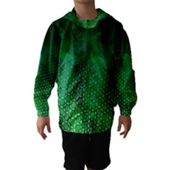 Ombre Green Abstract Forest Hooded Wind Breaker (kids) by DanaeStudio