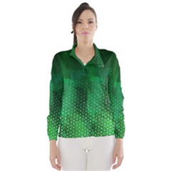 Ombre Green Abstract Forest Wind Breaker (women) by DanaeStudio