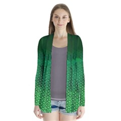 Ombre Green Abstract Forest Drape Collar Cardigan