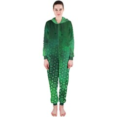 Ombre Green Abstract Forest Hooded Jumpsuit (ladies)