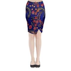 Texture Batik Fabric Midi Wrap Pencil Skirt by Zeze