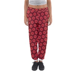 Red Pasion Floral Pattern Women s Jogger Sweatpants