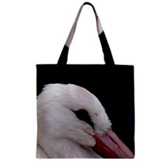 Wild Stork Bird, Close Up Zipper Grocery Tote Bag by picsaspassion